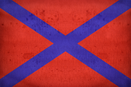 far eastern: Naval ensign of the Far Eastern Republic on fabric texture,retro vintage style