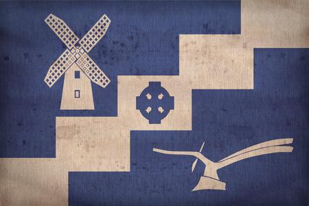 staining: Staining, Lancashire flag pattern on fabric texture,retro vintage style