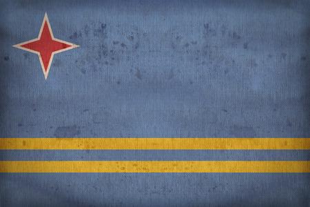 aruba flag: Aruba flag pattern on fabric texture,retro vintage style