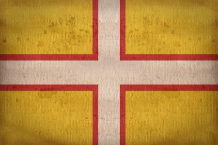 dorset: Dorset flag pattern on fabric texture,retro vintage style