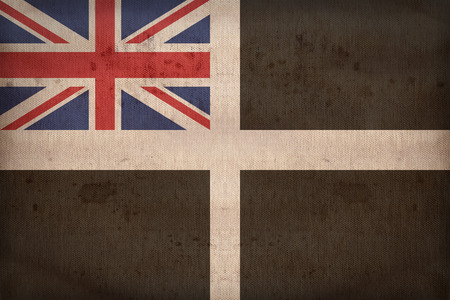 ensign: Unofficial Cornish Ensign flag pattern on fabric texture,retro vintage style