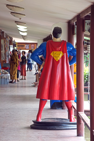 plastic soldier: AYUTTAYA ,THAILAND- OCTOBER 10, 2015: Superman model standing in front of the shop at Thung Bua Chom floating market Editorial