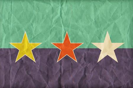 ryukyu: Ryukyu Independence flag pattern on paper texture,retro vintage style Stock Photo
