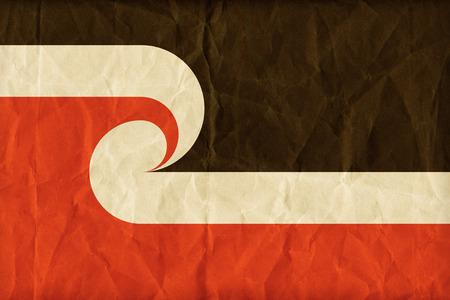 sovereignty: Tino Rangatiratanga Maori Sovereignty Movement flag pattern on paper texture,retro vintage style Stock Photo