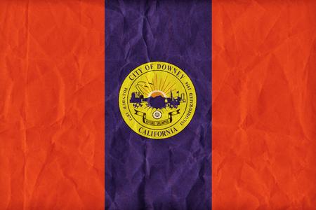california flag: Downey,California flag pattern on paper texture,retro vintage style