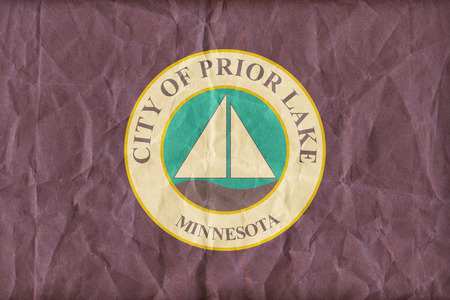 prior lake: Prior Lake ,Minnesota flag pattern on paper texture,retro vintage style Stock Photo