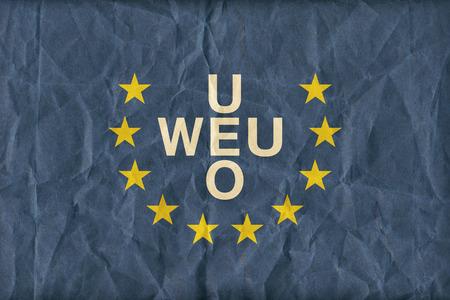 western european: Western European Union flag pattern on paper texture,retro vintage style