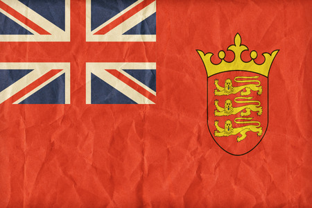 ensign: Civil Ensign of Jersey flag pattern on paper texture,retro vintage style