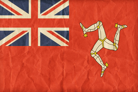 ensign: Civil Ensign of the Isle of Man flag pattern on paper texture,retro vintage style