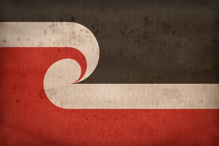 sovereignty: Tino Rangatiratanga Maori Sovereignty Movement flag pattern on fabric texture,retro vintage style