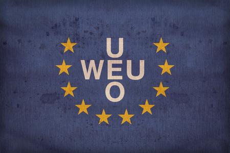 western european: Western European Union flag pattern on fabric texture,retro vintage style Stock Photo