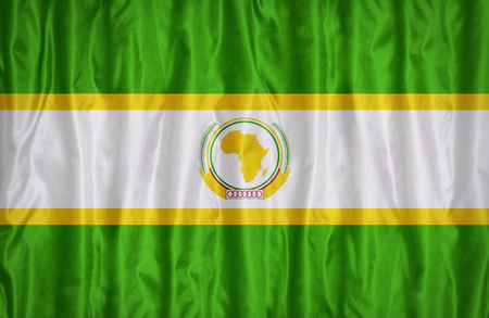 african solidarity: African Union Resistance and Solidarity flag pattern on the fabric texture ,vintage style