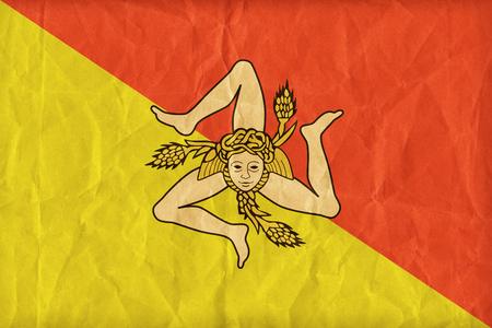 region sicilian: Sicilia , Sicilian Region flag pattern on paper texture,retro vintage style