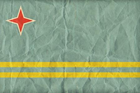 aruba flag: Aruba flag pattern on paper texture,retro vintage style