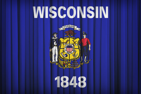 wisconsin flag: Wisconsin flag pattern on the fabric curtain,vintage style