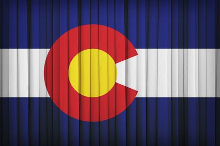 colorado flag: Colorado flag pattern on the fabric curtain,vintage style