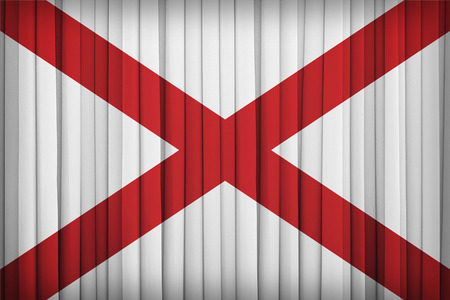 alabama flag: Alabama flag pattern on the fabric curtain,vintage style Stock Photo