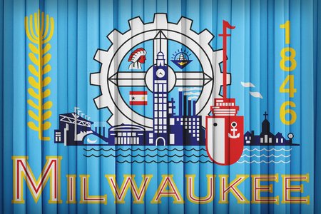 wisconsin flag: Milwaukee ,Wisconsin flag pattern on the fabric curtain,vintage style