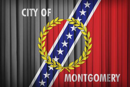 alabama flag: Montgomery ,Alabama flag pattern on the fabric curtain,vintage style Stock Photo