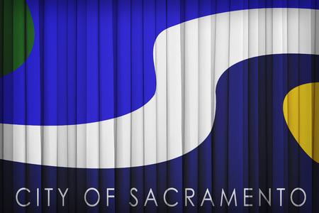 california flag: Sacramento ,California flag pattern on the fabric curtain,vintage style Stock Photo