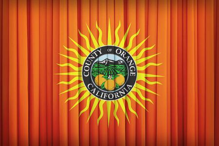 orange county: Orange County , California flag pattern on the fabric curtain,vintage style