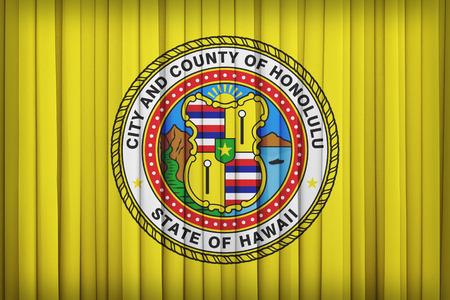 hawaii flag: Honolulu ,Hawaii flag pattern on the fabric curtain,vintage style