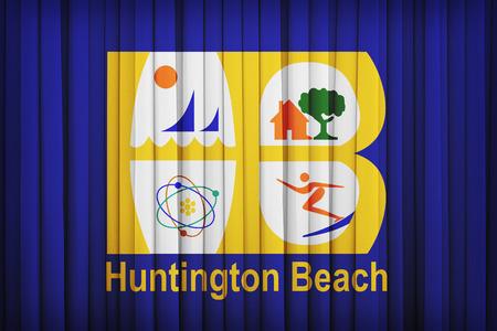 california flag: Huntington Beach ,California flag pattern on the fabric curtain,vintage style Stock Photo