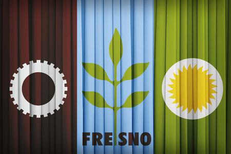 california flag: Fresno ,California flag pattern on the fabric curtain,vintage style Stock Photo