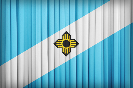 wisconsin flag: Madison ,Wisconsin flag pattern on the fabric curtain,vintage style Stock Photo