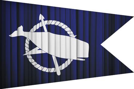 Nantucket ,Massachusetts flag pattern on the fabric curtain,vintage style