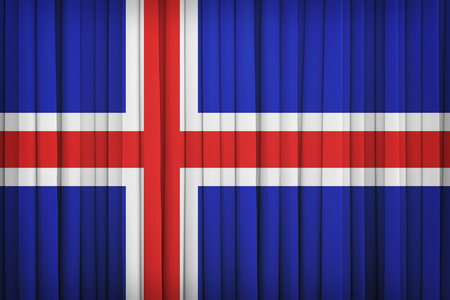 iceland flag: Iceland flag pattern on the fabric curtain,vintage style