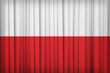 poland flag: Poland flag pattern on the fabric curtain,vintage style Stock Photo