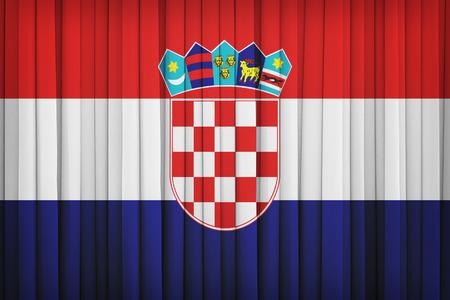 bandera de croacia: Croatia flag pattern on the fabric curtain,vintage style