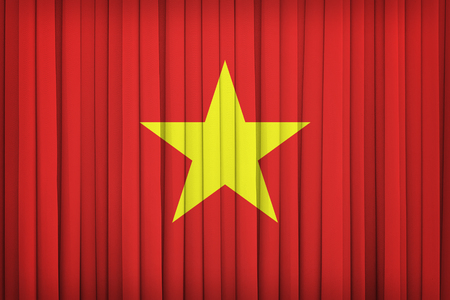 vietnam flag: Vietnam flag pattern on the fabric curtain,vintage style