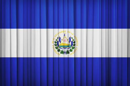 bandera de el salvador: Patrón de la bandera El Salvador en la cortina de tela, estilo vintage
