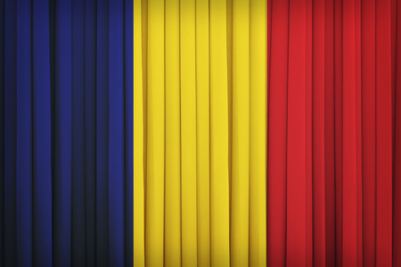 chad flag: Chad flag pattern on the fabric curtain,vintage style