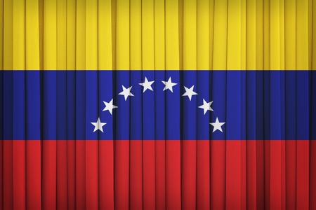 bandera de venezuela: patrón de bandera de Venezuela en la cortina de la tela, el estilo de la vendimia Foto de archivo
