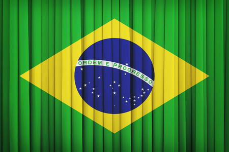 vintage flag: Brazil flag pattern on the fabric curtain,vintage style