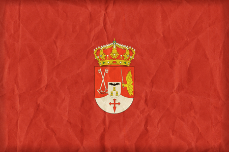 Albacete flag on paper texture,retro vintage style Stock Photo