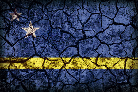 Curacao flag pattern on crack soil texture,retro vintage style