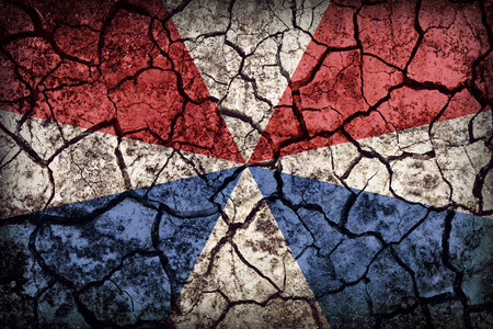 civilian: Civilian Jack of the Netherlands flag pattern on crack soil texture,retro vintage style