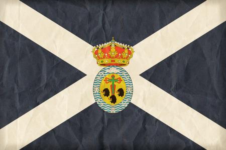 santa cruz de tenerife: Santa Cruz de Tenerife flag on paper texture,retro vintage style Stock Photo