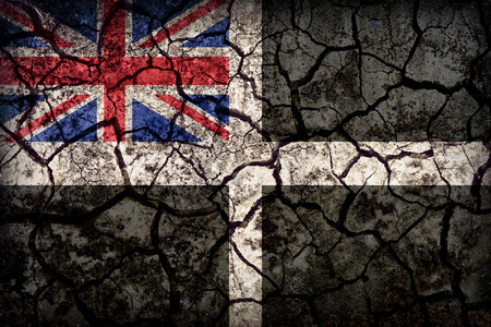 unofficial: Unofficial Cornish Ensign flag pattern on crack soil texture,retro vintage style