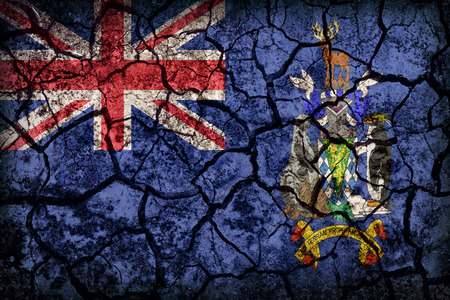 south georgia: South Georgia and the South Sandwich Islands flag pattern on crack soil texture,retro vintage style Stock Photo