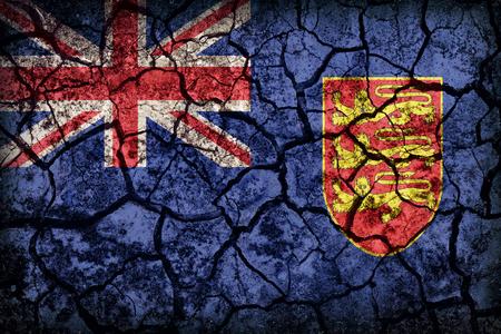 ensign: Government Ensign of Jersey flag pattern on crack soil texture,retro vintage style