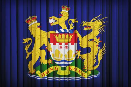 autonomia: Bandera de Hong Kong Movimiento Autonom�a en la cortina de la tela, el estilo de la vendimia