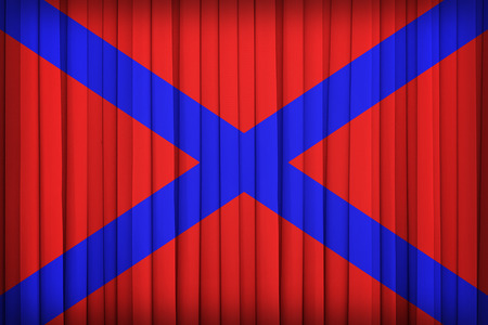 far eastern: Naval ensign of the Far Eastern Republic flag on the fabric curtain,vintage style Stock Photo