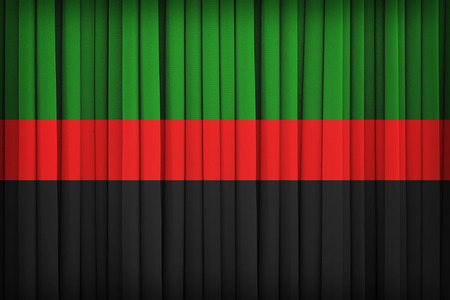 afrika: Republic of New Afrika flag on the fabric curtain,vintage style Stock Photo