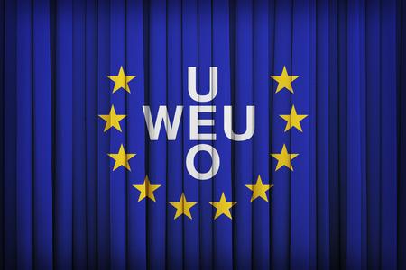 western european: Western European Union flag on the fabric curtain,vintage style Stock Photo