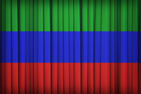 retrospective: Variant flag of the Kharkov Peoples Republic flag on the fabric curtain,vintage style